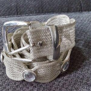 Silver Metal Belt 38x1.25in $28+free scarf